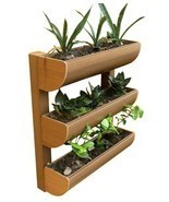 3Row Wall Planter Outdoor Garden Wood Plant Veg... - $112.51