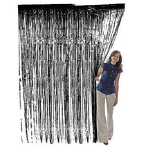 Black Metallic Fringe Curtain Party Foil Tinsel Room Decor 3'x8' Door Wh... - $6.79+