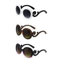Womens Round Fashion Designer Inspired Sunglasses with Baroque Swirl Arms - $5.95