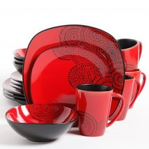 Red and Black Kasbar Blossom 16 Piece Dinnerware Set Service For 4 - $125.00