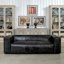 "87"" Sofa Vintage Black Soft Italian Leather, Birch Wood,Gorgeous! - $2,326.50"