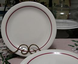 """Homer Laughlin Restaurant Ware Red Stripe On White 9"""" Dinner Plates Set ... - $14.80"""