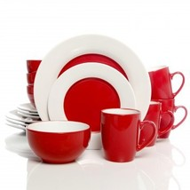 Gibson Style Deluxe 16 PC Dinnerware Set Red And White - $55.95