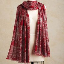 "Smithsonian Auspicious Chrysanthemums Scarf 71"" Long 100% Merino Wool FREE SHIP - $69.99"