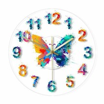 Colorful Butterfly Wall Clock Charm Watercolour Painting LED Decor Gift ... - $46.29+