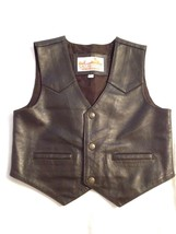 Roper Boy's Girl's Saguaro West 100% Leather Western Sheriff Vest Size L... - $46.74