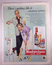 "Vintage 1950 Budweiser Beer Magazine Ad  ""There's Nothing Like It"" Croqu... - $9.49"