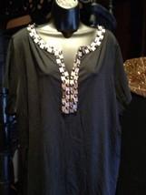 Dana Bachman Black Beaded Gothic Shirt Blouse size 2X - $28.05