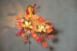 Double bouquet wall lamp - Sconces with flowers at pink orange color, ha... - $250.00