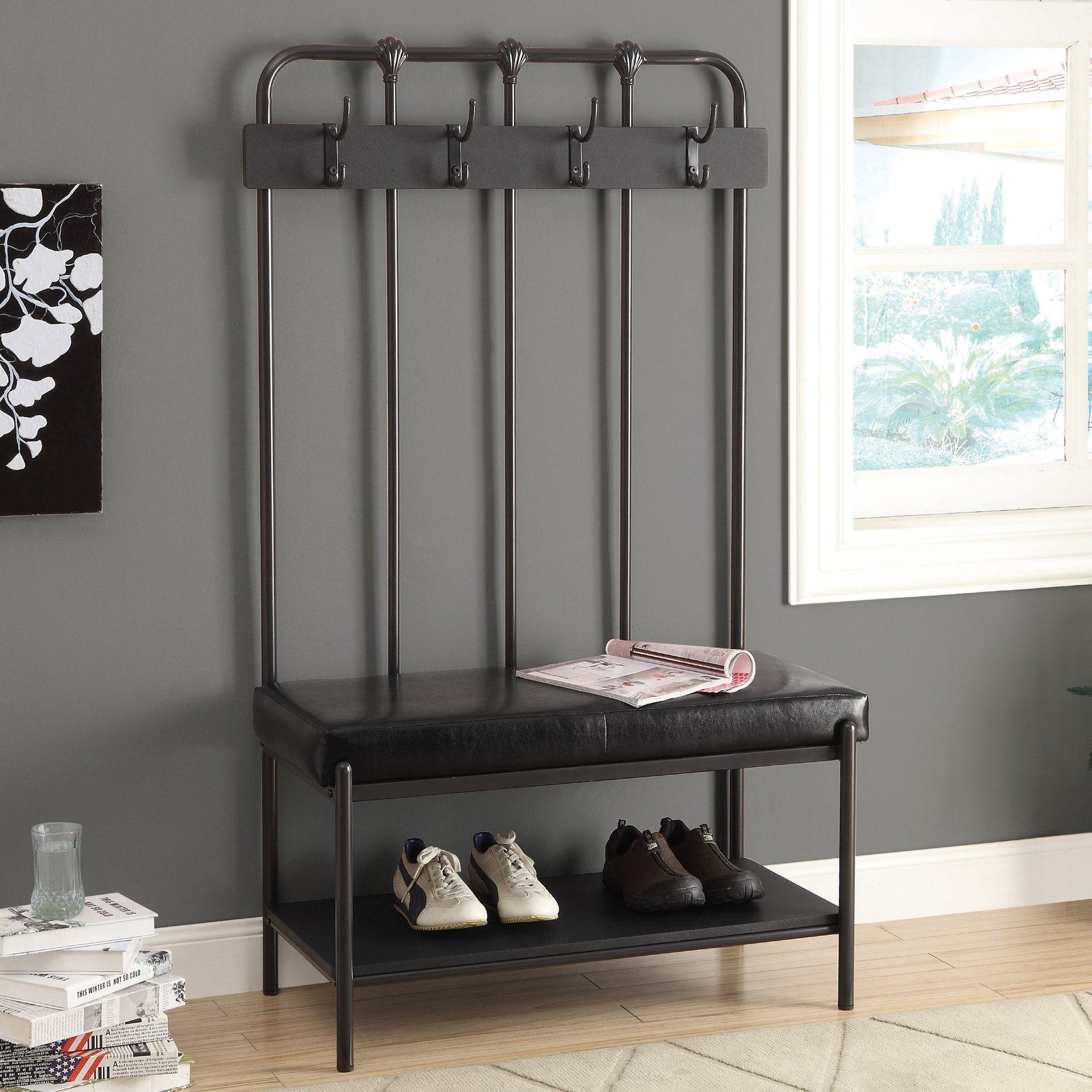Tall Coat Stand Storage Bench Hallway Tree Entryway Rack Seat Charcoal Grey