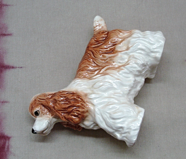 Vintage Lefton China Hand Painted Brown & White Long Haired Spaniel Dog Figurine
