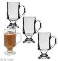 Pedestal Clear Glass Tea Irish Coffee Cappuccin... - $23.67