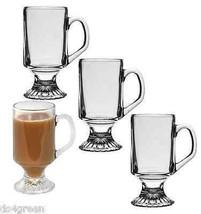 Pedestal Clear Glass Tea Irish Coffee Cappuccino Latte Cocoa Mug Cup set... - $23.67