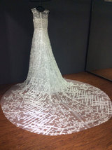 Rosyfancy Romantic Allover Lace A-line Long Cathedral Train Wedding Bridal Dress - $375.00
