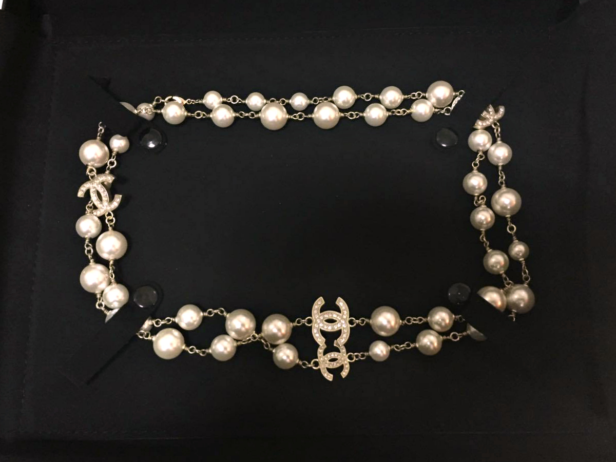 100% Auth Chanel 2015 Classic 5 Cc Reversible Crystal Pearl Necklace Gold  New