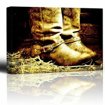 wall26 - Boots on Straw in barn - Country and Western Art - Canvas Art C... - $49.99