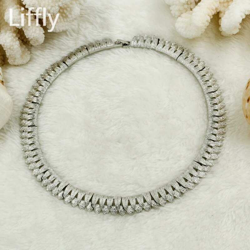 2019 African Luxury Bride Silver Jewelry Sets Charm Women Leaf Necklace Choker B image 2