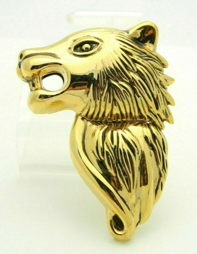 Wolf Gold Tone Texture Metal Large Vintage Pin Brooch Pendant