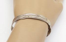925 Sterling Silver - Vintage Petite Modernist Etched Cuff Bracelet - B8511 - $37.40