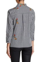 English Factory Women's Floral Embroidered Gingham Shirt Black Size Small image 2