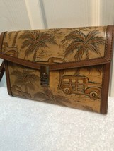 Brahmin Ruth Leather Clutch / Wristlet in Tan Copa Caba. Wagons/Palm Trees - $195.00