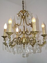 Grand Antique French Louis XV Cage Design 6 Arm Bronze Crystal Chandelie... - $425.09