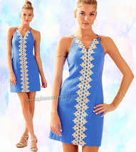 Lilly Pulitzer Pearl Lapis Blue Gold Lace Pique Shift Dress 14 $198 - $166.50