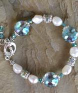 pearl Bracelet, natural Pearl Bracelet, Aquamarine Bracelet, Silver (B40) - $29.99