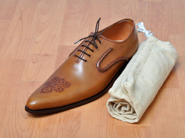 Handmade Men's Brown Brogues Dress/Formal Oxford Leather Shoes image 3