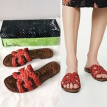 ✨New SAM EDELMAN Beckie Woven Faux Leather Slide Sandal Red Womens Size ... - $44.71