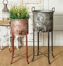 Country SET OF TWO (2) SPIGOT TUBS With STANDS Farmhouse Planter Garden ... - $136.99