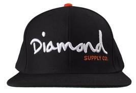 Diamond Supply Co Og Texte Logo Noir Orange Casquette Baseball Réglable