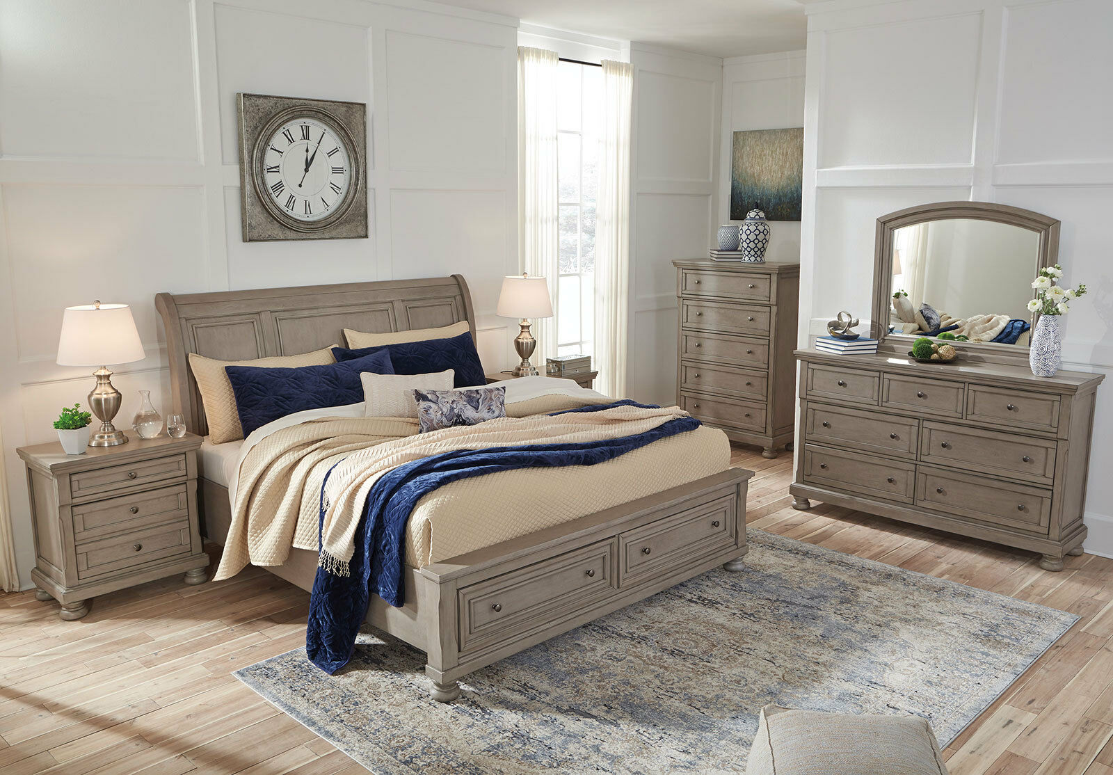 NEW Country Cottage Gray Solid Wood Furniture - MAINZ 5pc ...