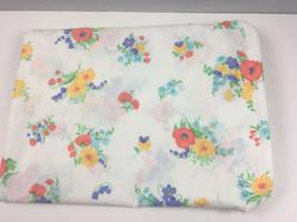 Vtg Utica JP Stevens Floral Flat Sheet 81x104 Lace Trim No Iron Percale USA - $14.55
