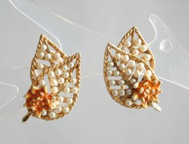 "Elegant BSK Faux Pearl & Enamel Clip Earrings   1960s vintage 1"" - $12.95"