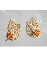 "Elegant BSK Faux Pearl & Enamel Clip Earrings   1960s vintage 1"" - $12.95"