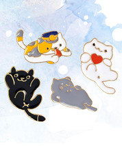 Neko Atsume Cute Cats Game Enamel Pins Set - Set of 4 Cat Lovers Pin Set Kawaii - $10.10+