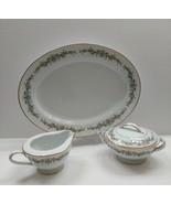 NORITAKE Barcelona Platter  - Double Handle Sugar Bowl w/Lid & Creamer - $64.35