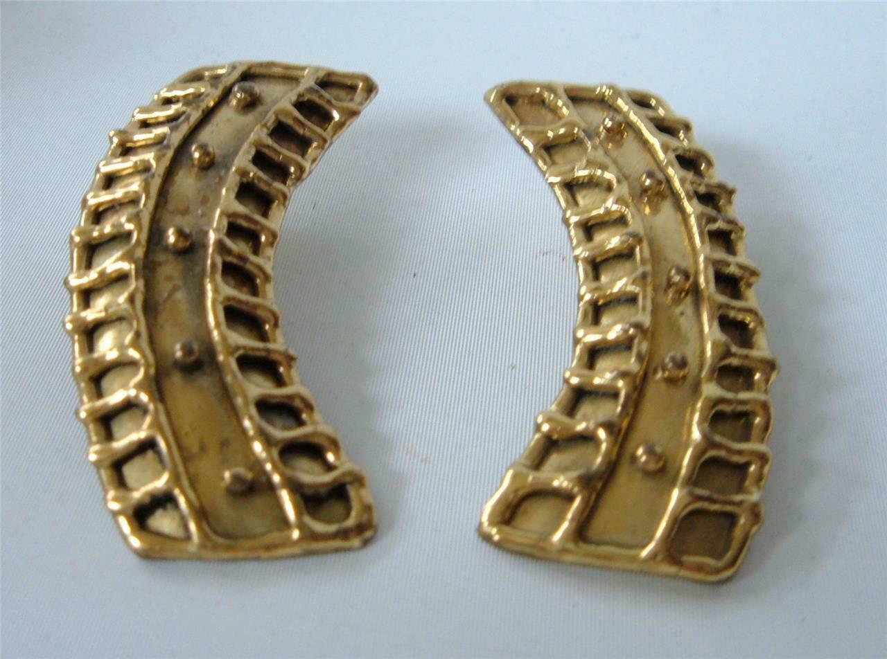 "Vintage Brutalist Brass Earrings Drippy Boho Modernist Gold  2 1/4"" posts"