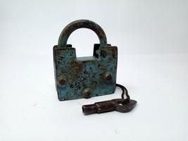 Antique Solid Iron Padlock Hand Carved Screw System Pad Lock Original Pa... - $46.75