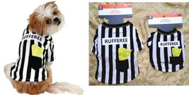 DOG HALLOWEEN COSTUME-PET T-SHIRT FOOTBALL RUFFEREE SOCCER SPORT MASCOT ... - $6.97