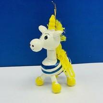 Christmas ornament 1980s wood holiday vintage mcm Unicorn striped zebra ... - $14.80