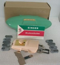 Vintage 1960 SINGER BUTTONHOLER Sewing Machine Attachment GREEN CASE - $9.69