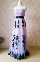 LIGHT PURPLE Strapless Sweetheart Neck High Waist Embroidery Maxi Wedding Dress  image 4