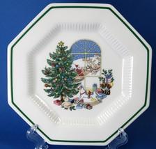 Nikko Christmastime Octagonal Accent Salad Plate Christmas Tree Santa in Window - $18.00