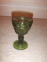 Indiana Glass Vintage Juice Glass Green Bartlett-Collins Bulls Eye #39 - $7.69