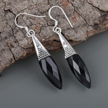 Faceted Black Onyx 925 Sterling Silver Oxidized Handmade Marquise Dangle... - $22.99
