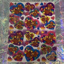 Vintage Lisa Frank Complete Sticker Sheet Teddy Bear Cap Heart  Rainbow Clouds