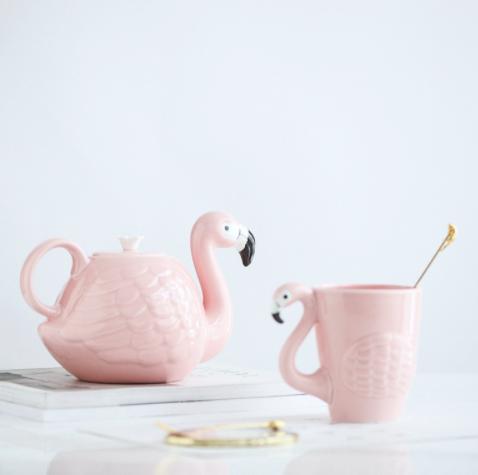 Home Deco Pink Flamingo Tea Cup