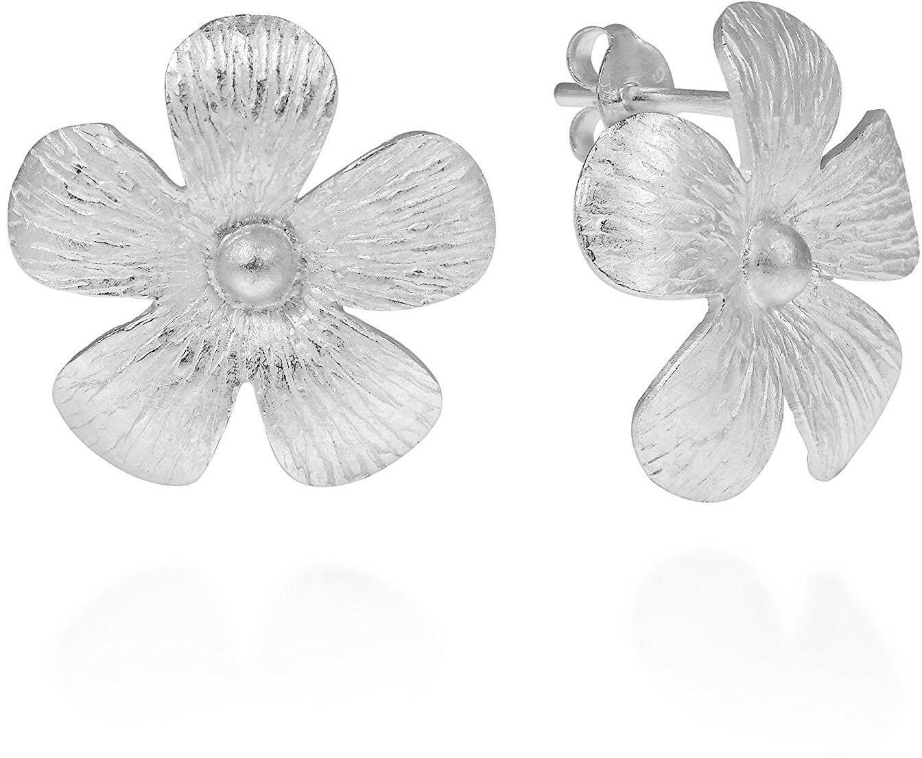 Primary image for Hawaiian Plumeria Flower Satin .925 Sreling Silver Post Earrings
